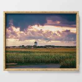Gathering Storm at Sunset, Cape Cod Lighthouse Serving Tray
