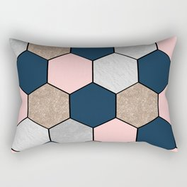 Navy and peach marble and foil hexagons Rectangular Pillow