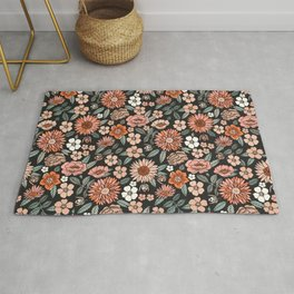 70s flowers - 70s, retro, spring, floral, florals, floral pattern, retro flowers, boho, hippie, earthy, muted Rug