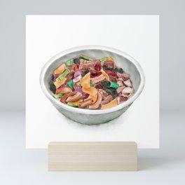 Watercolor Illustration of Chinese Cuisine - Yulin beef offal pot   玉林牛杂 Mini Art Print