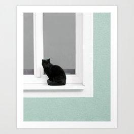 Black Cat on Aqua Green Blue Art Print