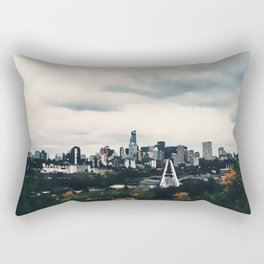 Edmonton Alberta, Digital Painting of a Very Cloudy Downtown just Before an Autumnal Storm Rectangular Pillow