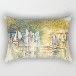 Summer Sailboats Drifting By Rectangular Pillow