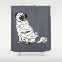 return Shower Curtains featuring The Mummy Pug Return by Huebucket