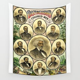 Vintage 1883 African American 'Distinguished Men of Color Poster by A. Muller & Co. Wall Tapestry