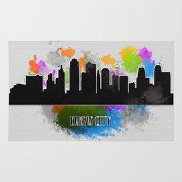 Kansas city skyline silhouette Rug