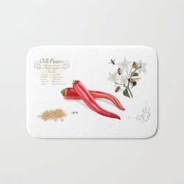 Chilli Peppers and Pollinators Bath Mat