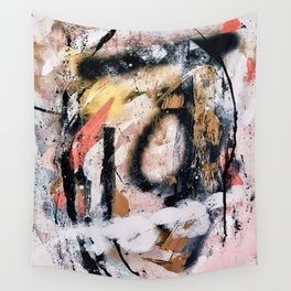 Lightning Soul: a vibrant colorful abstract acrylic, ink, and spray paint in gold, black, pink Wall Tapestry
