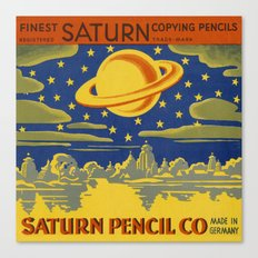 Saturn Pencil Label Canvas Print