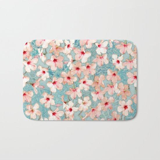 Shabby Chic Hibiscus Patchwork Pattern in Peach & Mint Bath Mat