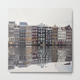Typical Dutch houses built by the canal, Amsterdam, Netherlands Metal Print