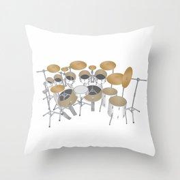 White Drum Kit Throw Pillow