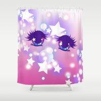 pastel goth Shower Curtains featuring Fairy Kei Pastel Goth Dreamy Shoujo Manga Eyes by KawaiiMachine