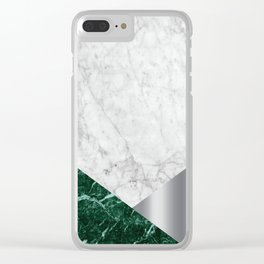 White Marble Green Granite & Silver #999 Clear iPhone Case