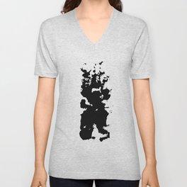 Ink black abstract Unisex V-Neck