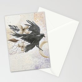 Raven Moon Space Watercolor Painting Stationery Cards