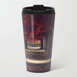 Red colors of autumn, surreal photo, red trees, alley in a park Travel Mug
