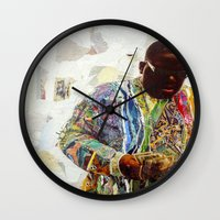 biggie Wall Clocks featuring Biggie by Katy Hirschfeld