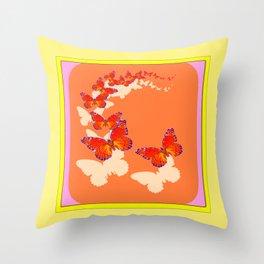 Monarch Butterflies Migration in Cumin Color & Yellow Art Throw Pillow