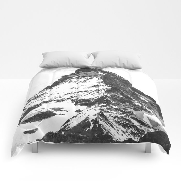 Black and White Mountain Comforters