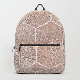 Rose gold foil honeycomb geometric Backpack