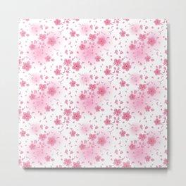 Pretty Pink Blossom Pattern Metal Print