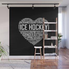 Love Ice Hockey Heart Wall Mural