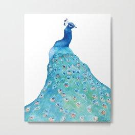 Peacock, teal bird, watercolor painting, home decor Metal Print