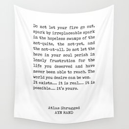 Ayn Rand Quote 1 - Atlas Shrugged - Minimalist, Classic, Typewriter Print - Inspiring - Literature Wall Tapestry