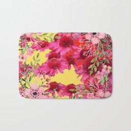 FUCHSIA-PINK FLOWERS YELLOW ART PATTERNS Bath Mat