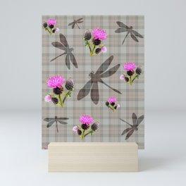 Dragonfly tartan Mini Art Print
