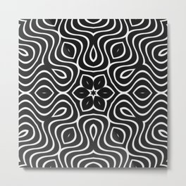Dark Petal Waves Pattern Metal Print