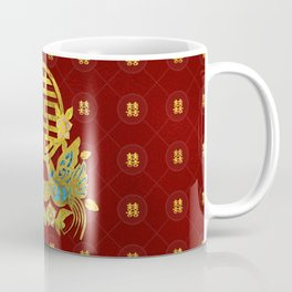 Gold Double Happiness Symbol with  birds Coffee Mug