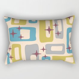 Retro Mid Century Modern Abstract Pattern 924 Turquoise Gray Olive Rectangular Pillow