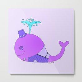 Steampunk Whale (Purple) Metal Print