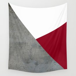 Concrete Burgundy Red White Wall Tapestry
