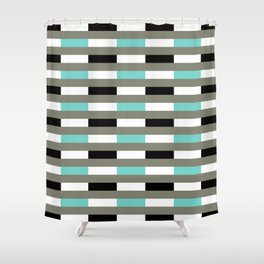 Geometric Pattern 67 (turquoise black gray lines) Shower Curtain
