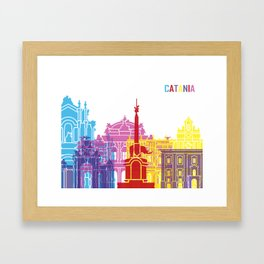 Catania skyline pop Framed Art Print