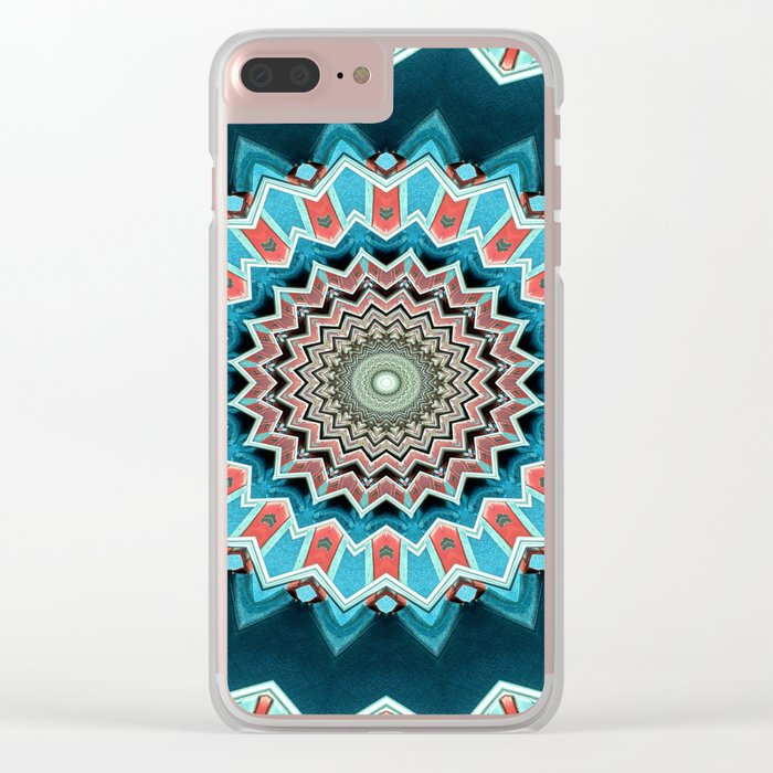 Blue And Turquoise Pattern Clear iPhone Case