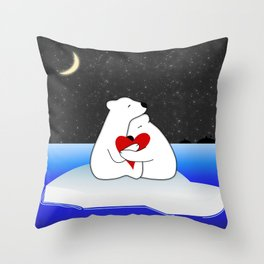 Warm hugs in the cold Throw Pillow