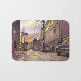 Industrial alley at the sunset Bath Mat