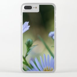 Mircro Blue flowers Clear iPhone Case