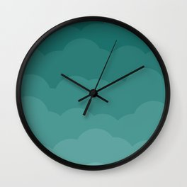 Teal Ombre Clouds Wall Clock
