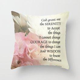 Serenity Prayer Bouquet Throw Pillow