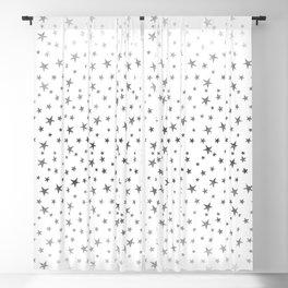 Mini Stars - Silver on White Blackout Curtain