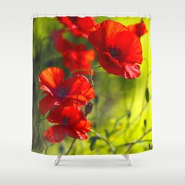Red Poppies on green background #decor #society6 #buyart Shower Curtain