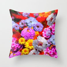 PINK-YELLOW-WHITE FLOWERS ON RED Throw Pillow