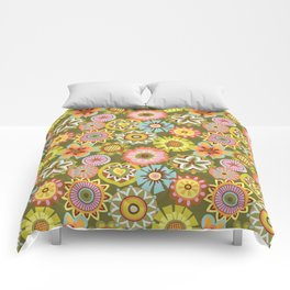"Button Flowers-""Believe"" Colorway Comforters"