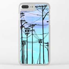 Industrial poles blue Clear iPhone Case