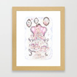 Cat's Tea Party Watercolor Painting Framed Art Print